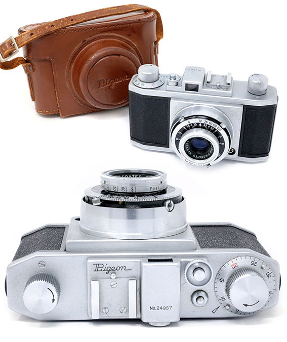 Shinano Pigeon 35mm Camera No.24957 Made in Japan with Leather Case Leica copy