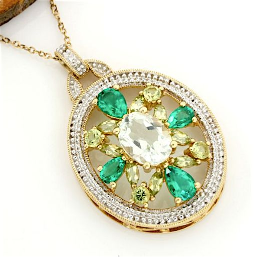 No Reserve Price - 14k Yellow Gold -  3.75 ct Oval Shape Green Amethyst, 1.50 ct Marquise/Round Cut Peridot and 1.25 ct Pear Shape Emerald Necklace with Pendant - 40 cm