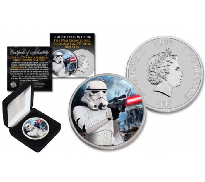 Niue - 2 Dollar 2018 Stormtrooper with Hoth Battle Backdrop - 1 oz - Silver