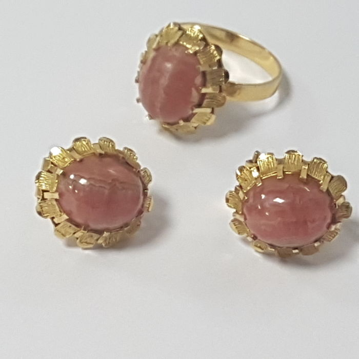 Set ring and earrings in 18 kt gold and rhodochrosite or Inca rose 11.26 g