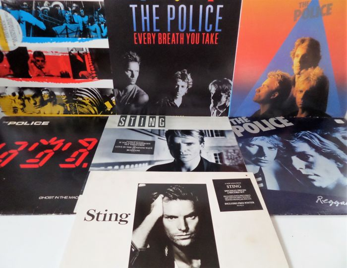 The Police and Sting. Lot of seven beautiful albums and ten single records.