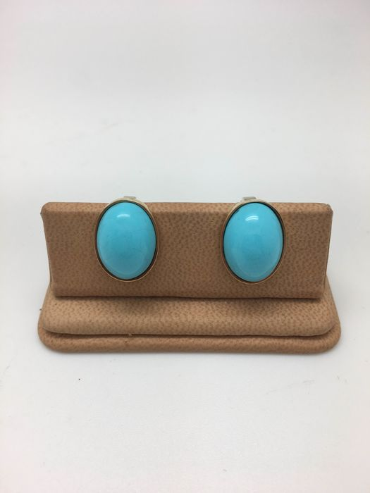 Earrings in 18 kt gold with turquoise