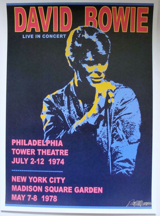 David Bowie Virgin Records promo poster Live in Concert USA