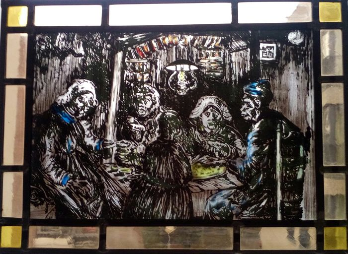 "Signed stained glass, ""De Aardappeleters"" after Vincent van Gogh - signed at the top right"
