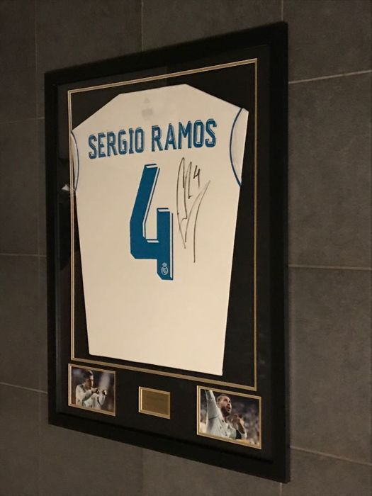Sergio Ramos signed framed Real Madrid home shirt 2017-2018 with photo of  the moment 436d02308