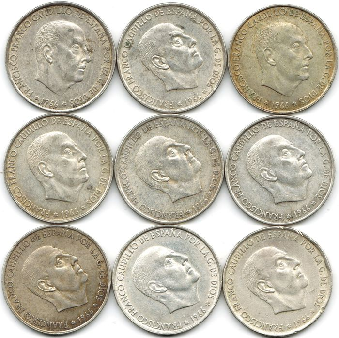 Spain - Set of 9 silver coins of 100 pesetas. Francisco Franco (Spain dictator between 1939 and 1975). - 1966 - Madrid.  (9)