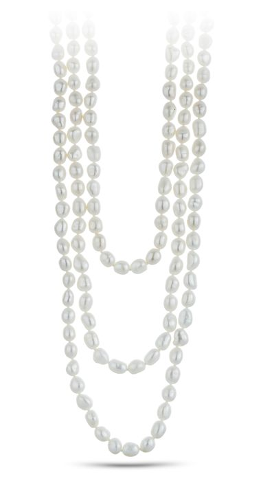 Lustrous Multi Functional White Freshwater Pearl Necklace - Authenticity Certificate Included