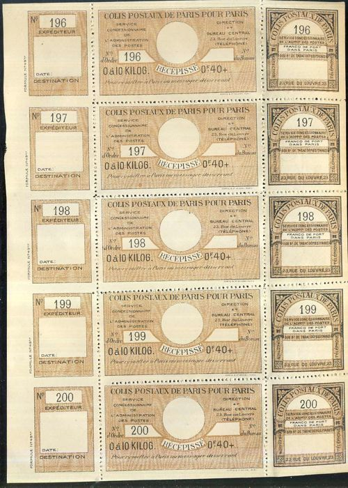 France 1919/1939 - Postal parcels, Paris/Paris. 6 complete panes of 6 stamps each - Spink no. 48, 69, 90, 132, 151, 154