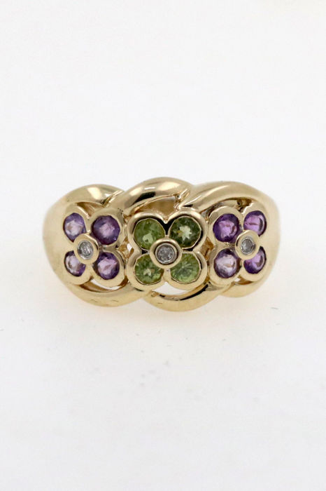 Mulit-colour gold ring with amethysts, tourmalines and diamonds 0.06 ct VVSI TW – size 54 (EU)