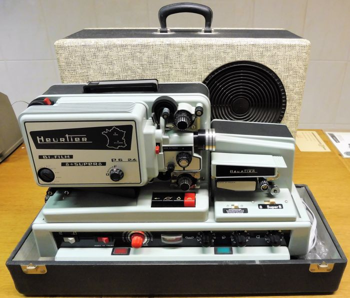 Heurtier P6-24Bi Super 8 Film projector with sound, including many movie accessories (Sennheiser, Minette, etc)