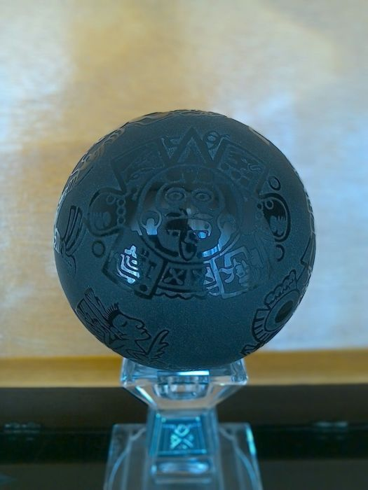 Obsidian Ball with Designs in relief, Aztec style - 7.5 cm - 596 g