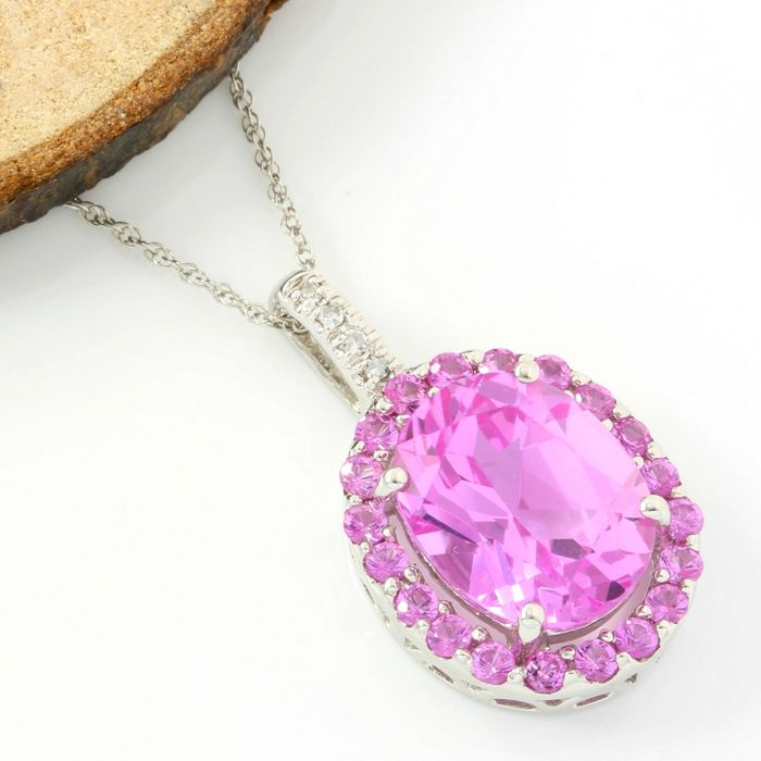14k White Gold - 7.25 ct Oval Shape/Round Cut Pink Topaz and 0.028 ct Single Cut H-I, SI2 Diamond Necklace with Pendant - 45 cm