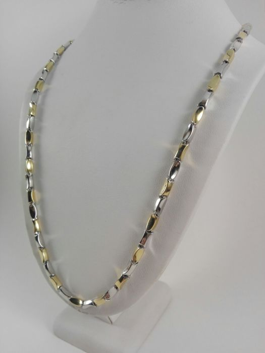 "18 kt yellow and white gold men's necklace by ""Maistrello"" Weight: 16.3 g"