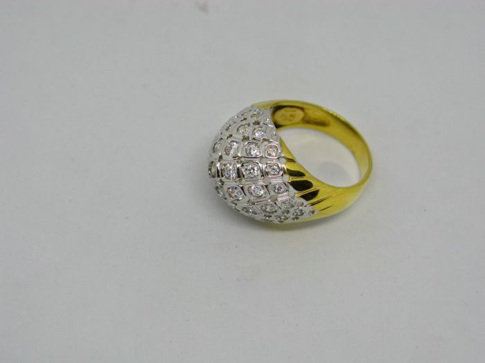 18k (750/1000) yellow gold ring 10,5gr set with synthetic stones - size:57 - No free resizing
