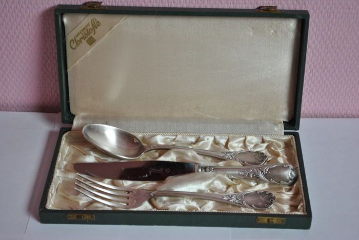 Silverware set (cutlery) for one person, from Christofle, signed case