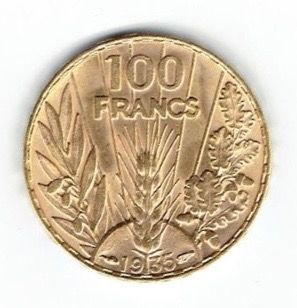 France - 100 Francs 1935 'Bazor' - gold