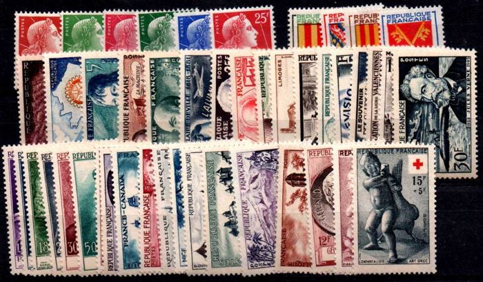 France 1955 to 1959 - Collection of 5 complete years