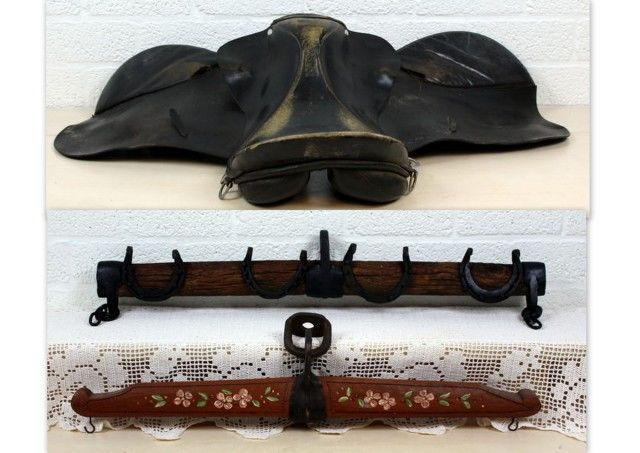 Two horse-wagon adzes and a leather horse saddle (3)