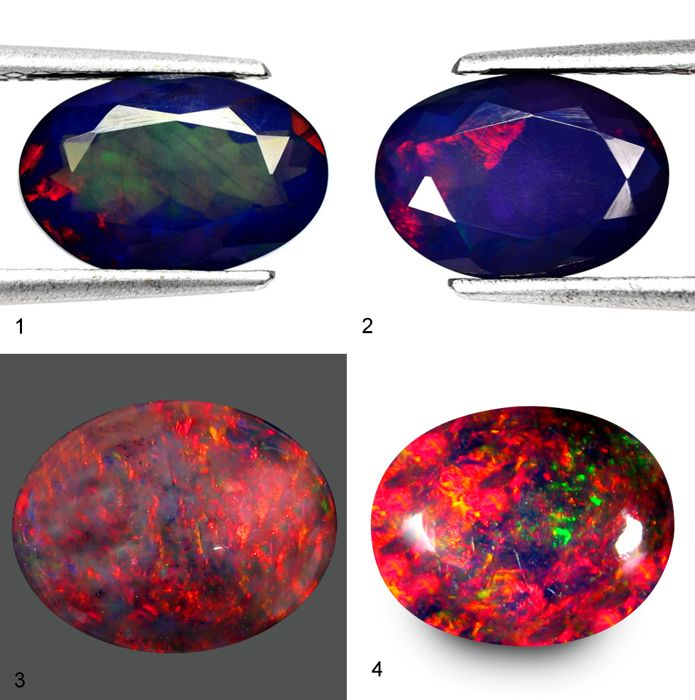 Nice collection of very beautiful opals multicolour play - 10,06ct  (4)