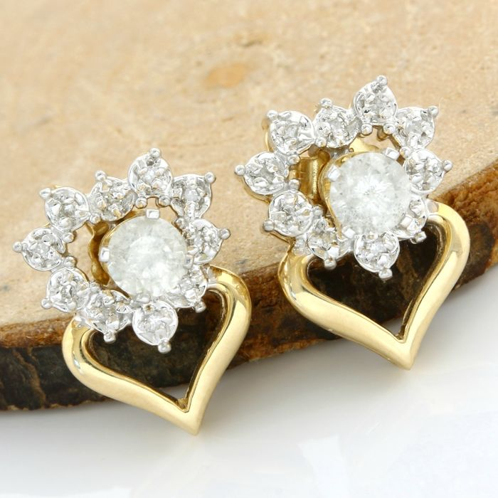 No Reserve Price - 14k Yellow Gold Built-in Earrings Set with 0.50 ct Round Cut H-I, I1-I2 Diamond
