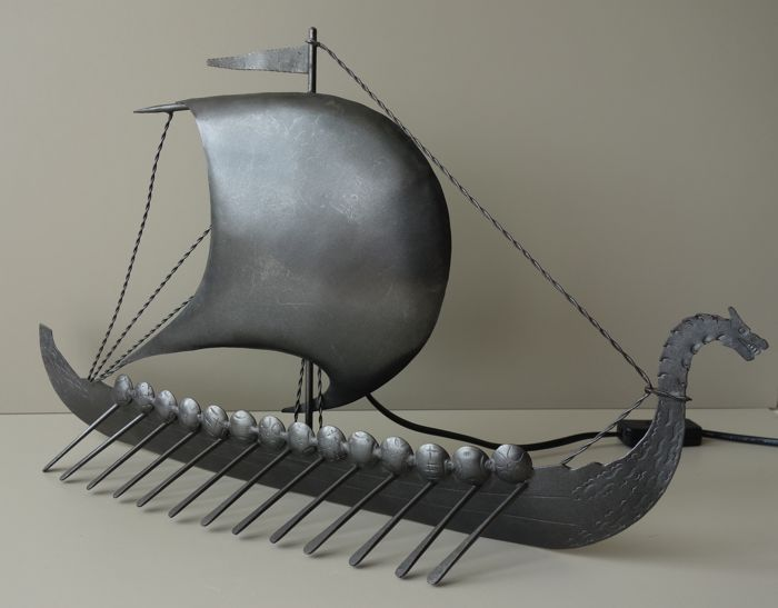 Raimon Casals i Alsina - large metal viking ship lamp