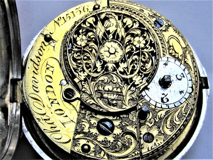 C. Davidson, London 1814 (Vienna Congress) Working - Double case verge fusee pocket watch. - 15136 - Uomo - Precedente al 1850