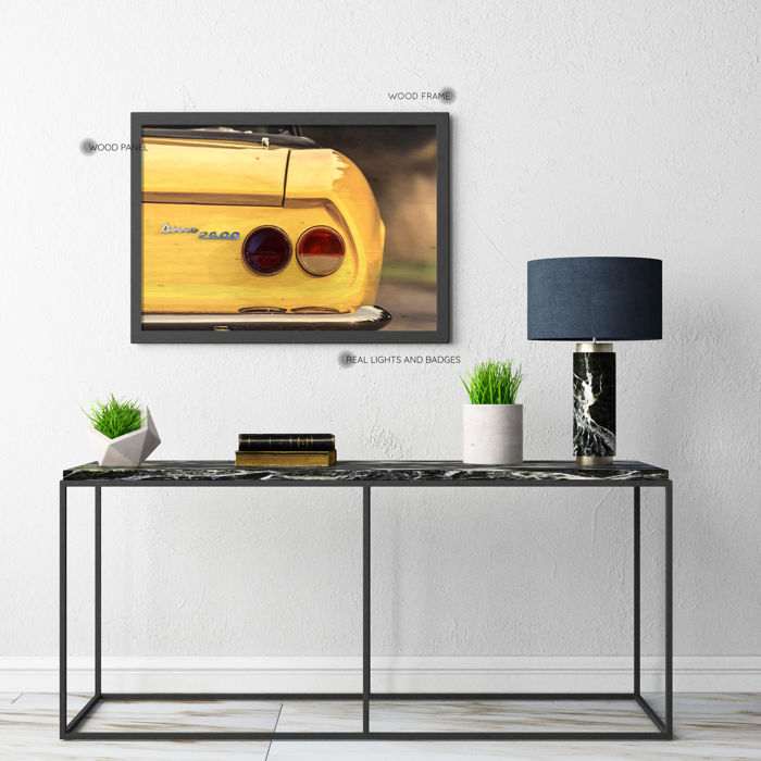 ART - Wooden Panel and Real Lights and Badge of a Fiat Dino Spider 2400