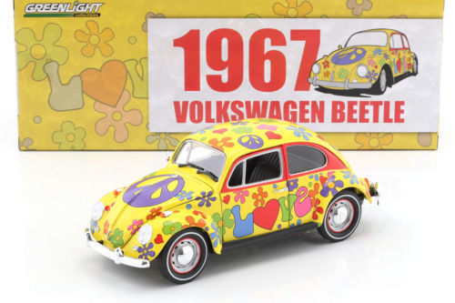 "Greenlight - scale 1/18 - Volkswagen VW Beetle ""Hippie Peace & Love"" RHD 1967 - yellow/flowerpower"