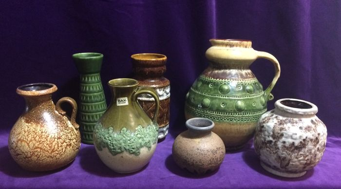 Collection with seven Fat Lava vases