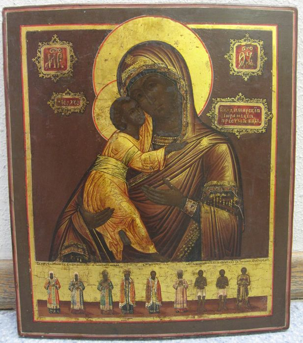 Russian icon, The Mother of God Valdimirskaya-Oranskaya - early 19th century