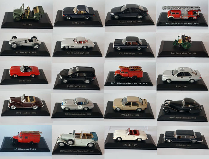 De Agostini - Scale 1/43 - lot with 20 models: Benz, Mercedes-Benz, Metz, TLF