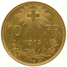 Switzerland - 10 Francs 1913B Helvetia - gold