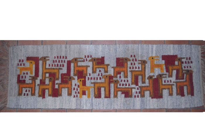Polish kilim handwoven long carpet - 2nd half of 20th century - with Label