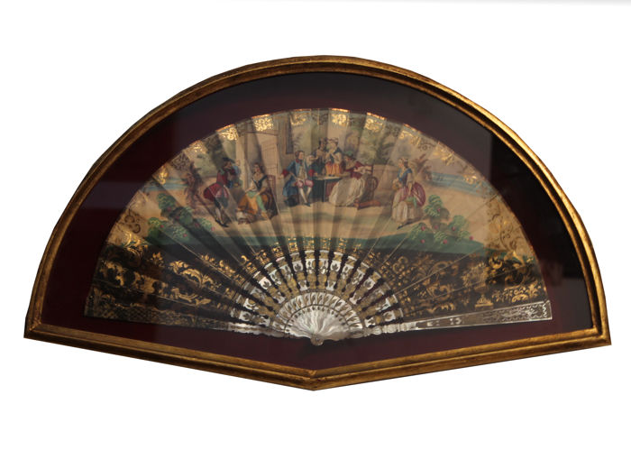Fan with mother of pearl frame, 19th century