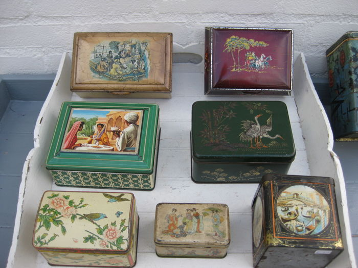lot of old tea tins