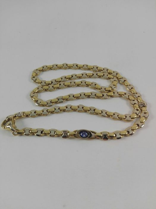 """18 kt yellow and white gold men's necklace by """"Karisma"""", with a natural diamond for 0.03 ct Weight: 36.5 g"""