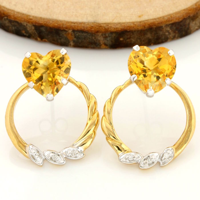 No Reserve Price - 14k Yellow Gold Hoop-Stud Earrings Set with 7.00 ct Heart Shape Citrine and 0.03 ct Round Cut H-I, SI2 Diamond