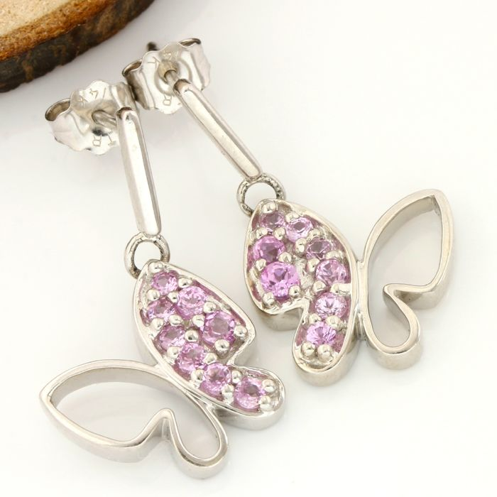 14k White Gold Butterfly Earrings Set with 0.65 ct Round Cut Pink Sapphire