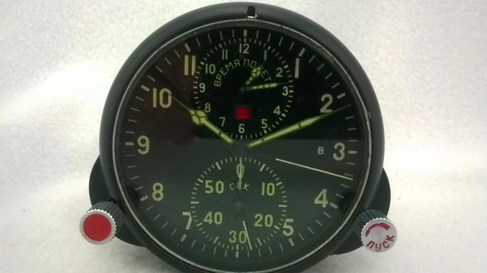 Aviation watch Chronograph АЧС- 1 № 37957 pilot for the fighter MiG (СССР/USSR). At the end of the 20th century.