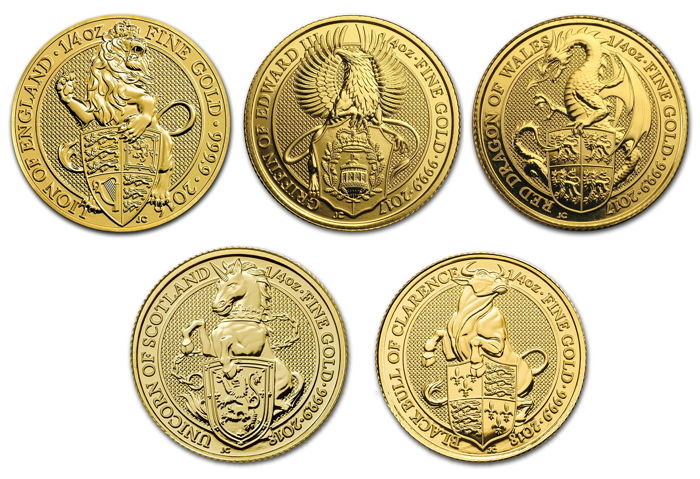 Great Britain - 25 Pounds 2016/2018 (5 münzen) 'The Queen's Beasts Serie' Lion, Griffin, Dragon, Unicorn & Bull - 5x 1/4 oz - Gold