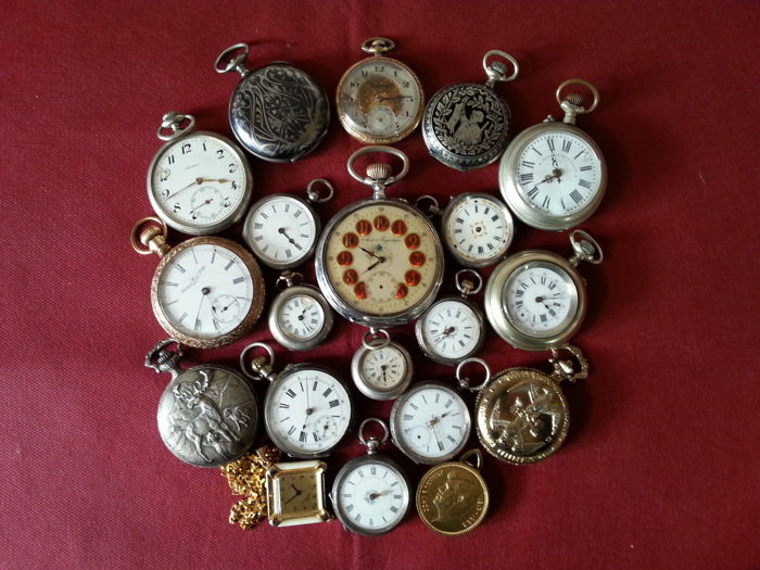 Lot of 20 pocket watches for men and women - From the late 1800s to the late 1900s