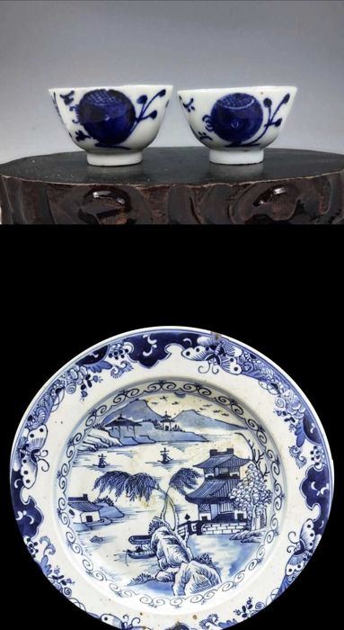 A Blue And White Porcelain Plate And A Pair Of Blues And White Porcelain Tea Cups -China - 19th C