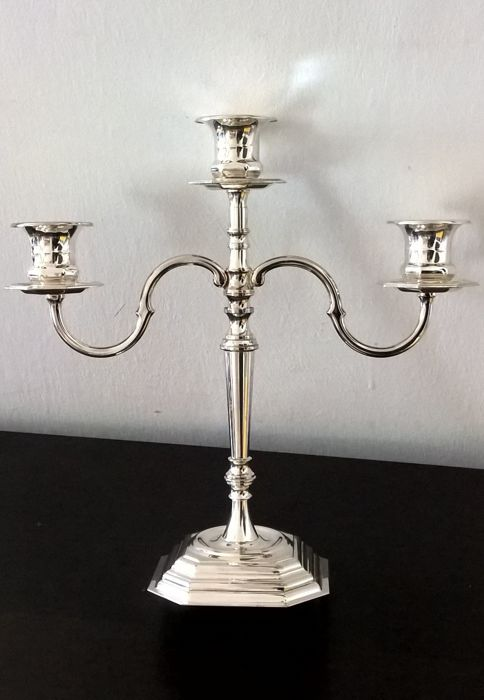3-flame candelabra in Sheffield silver, marked OLRI, Italy, 1980s