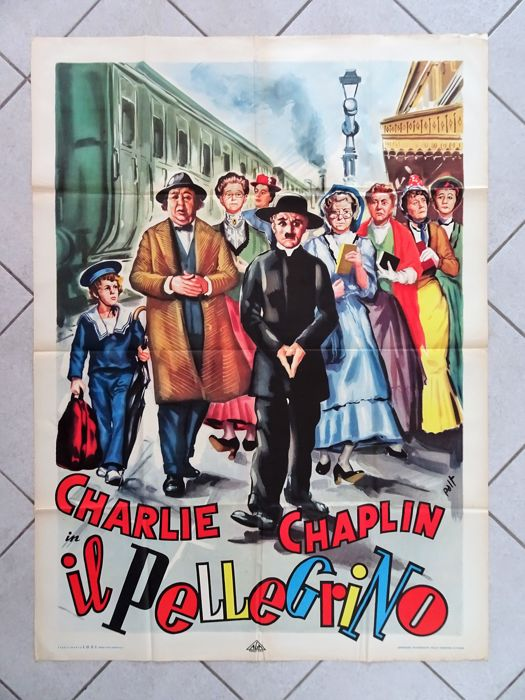 Original film poster IL PELLEGRINO (THE PILGRIM), Charlie Chaplin, Charlot, Printed in 1949. Art by PAOLO TARQUINI (Palt)