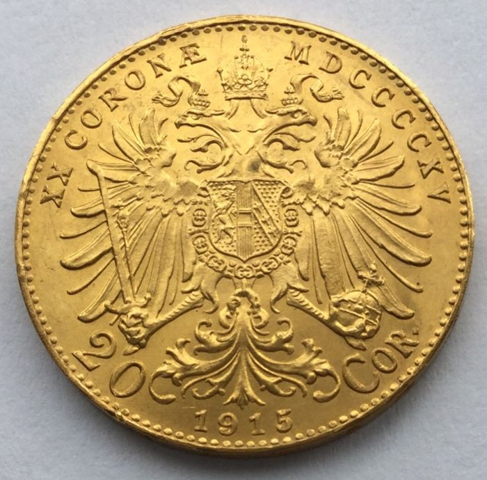 Austria - 20 Crowns 1915 (official restrike) - gold