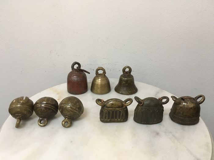 9 Assorted Bronze Bells. Burma - 19th century