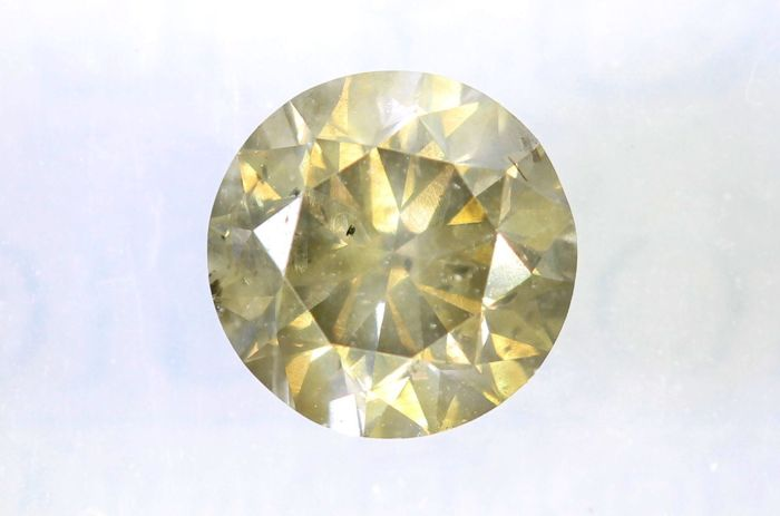 Diamant van 0.72 ct  - Fancy Greenish Yellow - SI2 - * No Reserve Price *