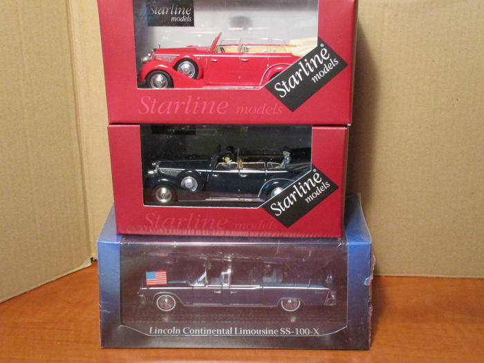 Starline, Norev & Road signature - Scale 1/43 - Lot with 5 models: 2 x Lancia, 2 x Bentley & 1 x Lincoln 'Kennedy'
