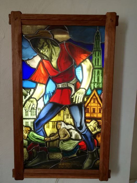 Light box with stained glass window - Antwerp - period 1930 - large format 105 x 83 cm