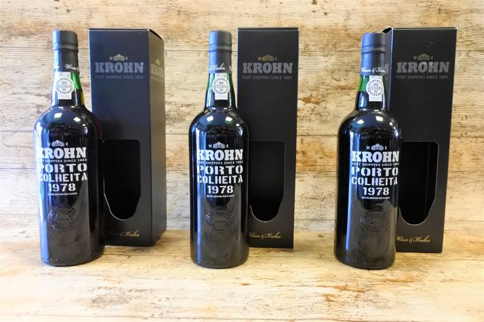 1978 Colheita Port - Krohn - bottled in 2015 - 3 bottles
